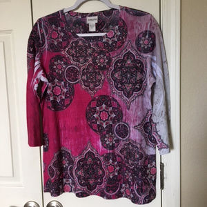 Chico's 1 Pink Purple Mandala Top